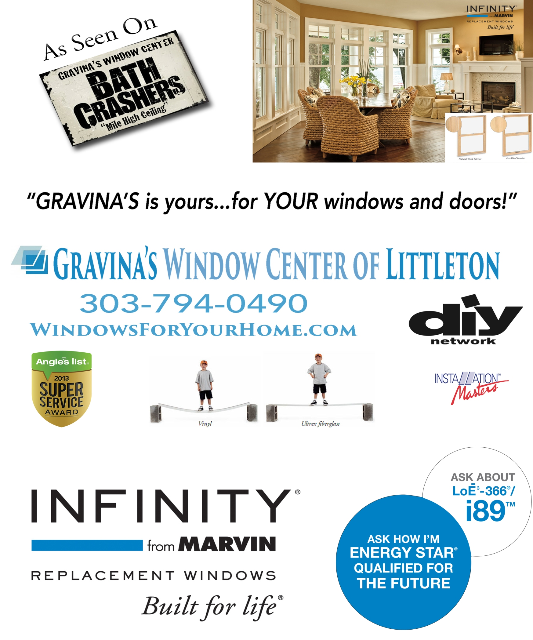 Gravinas window center of littleton, marvin windows denver, fiberglass window replacement, gravina window and siding, jim gravina